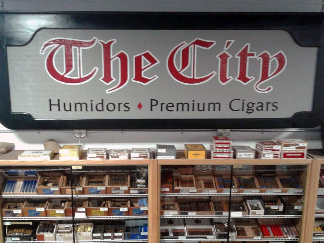 The City premium cigars display, The City cigars, humidor southern New Hampshire, tobacco shop southern New Hampshire
